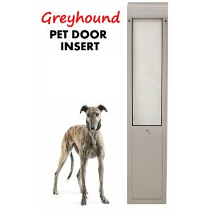 Greyhound pet sliding door insert